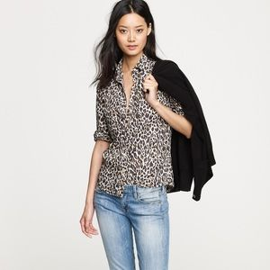 J. Crew Factory Perfect Shirt in Leopard Print